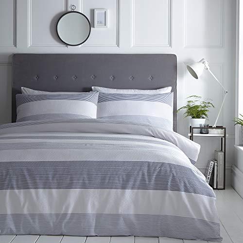 Silentnight Seersucker Striped Duvet Cover and Pillowcase Pair Bedding Set, Denim Blue, King