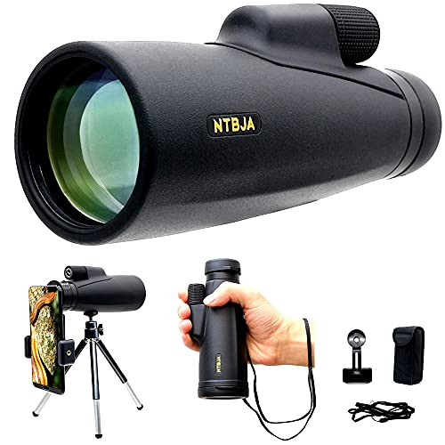 12X50 High Definition Waterproof Monocular Telescope with Tripod and Quick Smartphone Holder Compatible with iPhone Android FMC BAK4 Prism for Bird Watching Hunting Camping Travelling (Black)