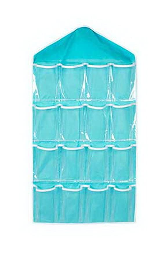 キリスト花束胸16ポケットワードローブアンダーウェアオーガナイザークローゼットソックス透明な吊り袋ブルー