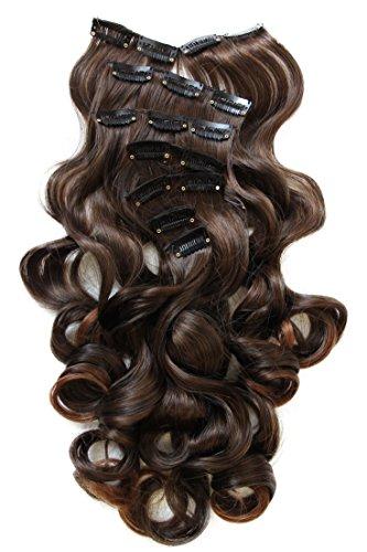 PRETTYSHOP XXL 8 Teile Set Clip in Extensions 60cm Haarverlängerung Haarteil hitzebeständig gewellt braun mix #2T30 CES20-1