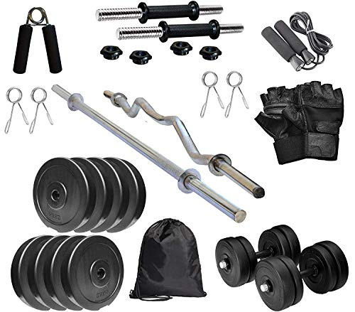 RV Home Gym Combo, Home Gym Set, Gym Equipment, PVC Plates Combo with 3Ft Curl Bar, 5Ft Straight Bar, Dumbbell Rods, Gym Bag with Accessories, (20KG Combo with Bag)