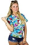 Funky Hawaiian Blouse Shirt, Shortsleeve, Flamingos Old, Turquoise, M