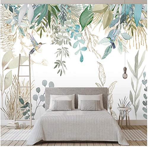 Papel pintado mural adhesivo de pared Papel tapiz fotográfico Moderno pintado a mano Planta tropical Hojas Flores y pájaros Murales Sala de estar Dormitorio Impermeable Pintura mural