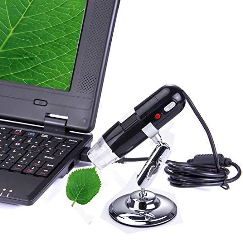 LYNQYGmicroscope Microscopio 1,3 megapíxeles microscopio Digital 200x USB con 8 LED de luz Blanca (Negro)