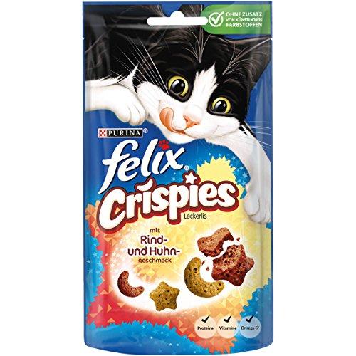 Felix Crispies Katzensnack mit Rind- und Huhngeschmack, 8er Pack (8 x 45 g)