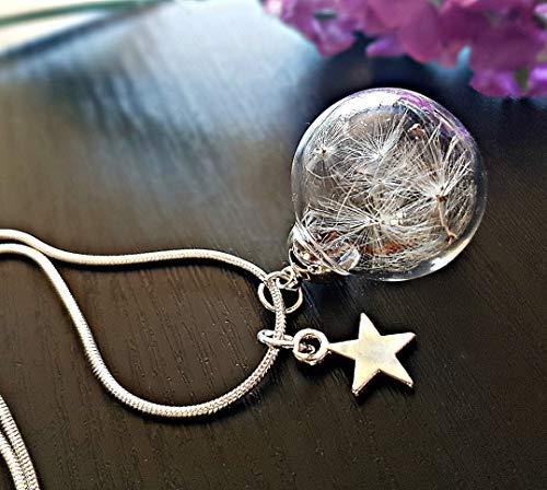 Collana dente di leone ciondolo stella in argento sterling 925 - tarassaco soffióne personalizzato pendente argento finissimo con PACCO REGALO regalo di compleanno Regalo di Natale
