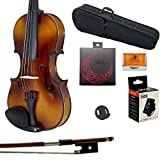 Paititi 1/8 Size Solid Wood Student Violin Complete Package w Case Bow Rosin String Mute Tuner Complete Package