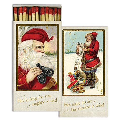 HomArt Large Decorative Candle and Fireplace Wood Matches | Santa's Watching | Set of 1
