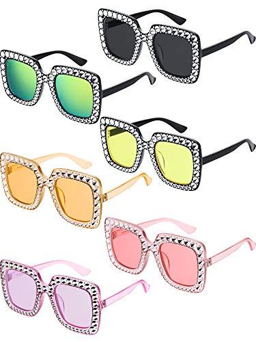 Frienda 6 Piezas Gafas de Sol Brillantes Cuadradas de Gran Tamaño Gafas de Sol con Montura Gruesa Retro(Púrpura Claro, Gris Claro, Rosa Claro, Rojizo Claro, Amarillo Claro, Rosa)