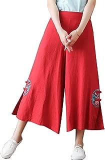 CHLXI Pantalones Kung Fu Tai Chi Pantalón Pantalones Anchos Bordados Cintura elástica Suelta algodón y Lino Pantalones Casuales
