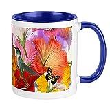 Tazza con farfalle di ibisco, interno bianco / blu navy