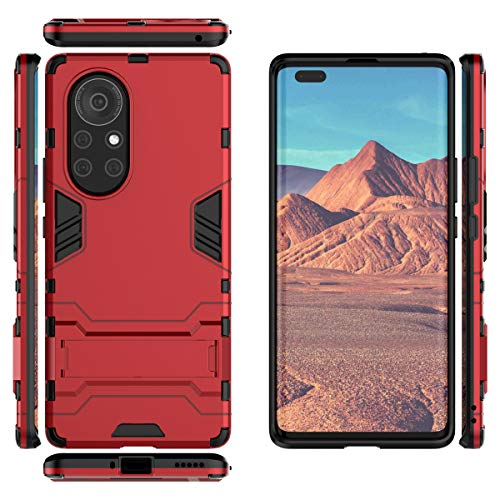 Gift_Source Huawei Nova 8 Pro 5G Funda, [Rojo] Suave Silicona TPU Parachoques y PC Dura Plastico Cover 2 en 1 Carcasa Protectora de Doble Capa con Función Soporte para Huawei Nova 8 Pro 5G (6.72')