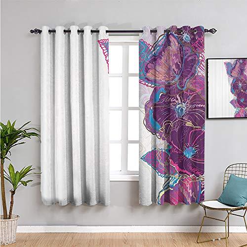 Pcglvie Cortina opaca floral, 114 cm de largo, acuarela, estilo de dibujo, flores artísticas, hojas de mariposa, borde ornamental, cortina de baño, morado, rosa, azul, ancho 63 x largo 45 pulgadas