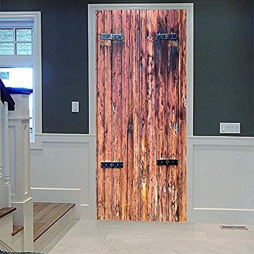 Aufkleber Der Tür 3D Schäbige Holztür Abnehmbare Selbstklebende Vinylkunst-Wandabziehbilder Kinderzimmer Wohnzimmerdekoration