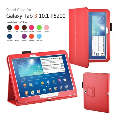 MOFRED Red Samsung Galaxy Tab 3 - 10.1 inch Case-MOFRED Retail Packed Executive Multi Function Standby Case with Built-in Magnet for Sleep / Wake Feature For the Samsung Galaxy Tab 3 10.1 inch Tablet + Screen Protector + Stylus Pen (Available in Mutiple Colors)