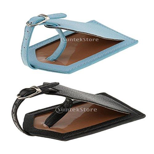 2 Stück Kofferanhänger Gepäckanhänger Koffer Adressanhänger aus Kunstleder - Blau Schwarz