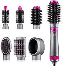 6 in 1 Hair Dryer Brush and Volumizer, Detachable Hair Dryer Styler, One-Step Hot Air Brush for Straightening Curling Drying Combing Scalp Massage Styling