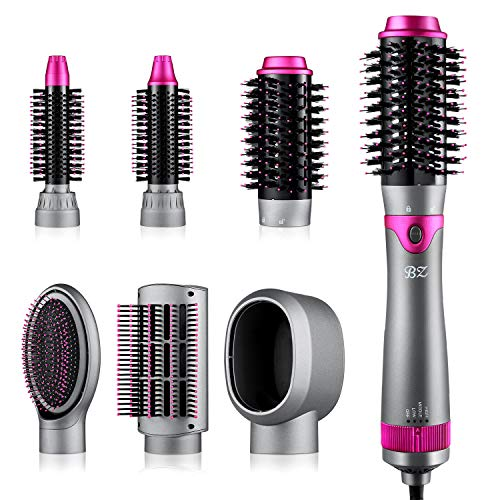 BZ 6 in 1 Hair Dryer Brush and Volumizer, Detachable Hair Dryer Styler, One-Step Hot Air Brush for Straightening Curling Drying Combing Scalp Massage Styling
