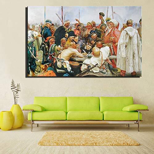 Mode Kanvasmålning Ilya Yafimovich Repin Svaret Från De Zaporozjiska Kosackerna Till Sultanen I Turkiet Oljemålning Wall Art Bild Heminredning Målningar 60x90cm