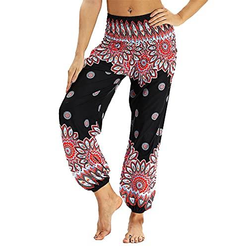 Leggins Mujer Fitness Mallas Gimnasio Pilates, Hippie Hipie Harem pantalones sueltos pantalones holgy boho flor patrón alto cintura de la cintura pantalones de yoga bohemian salón pantalones con bolsi