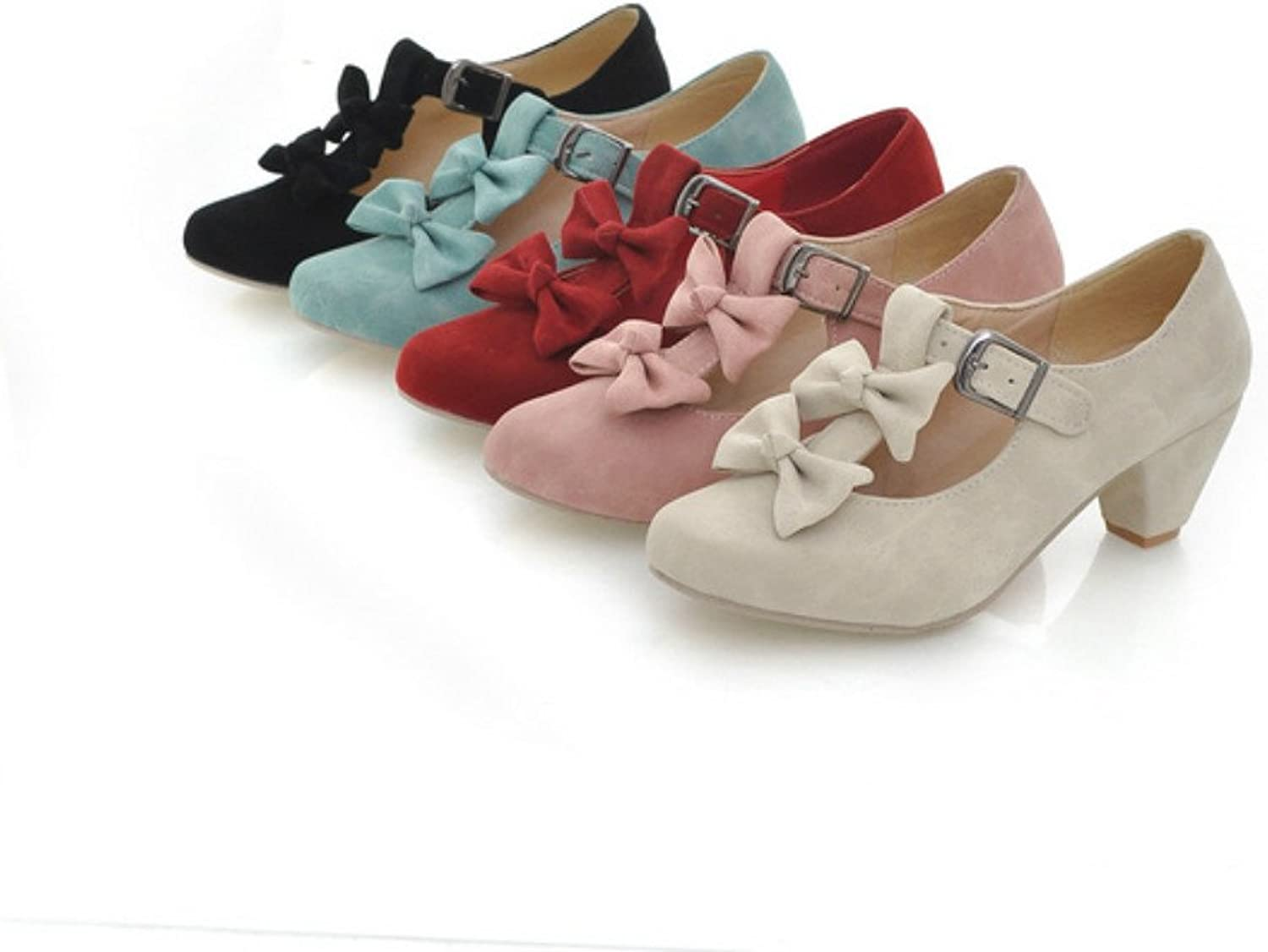 MFairy Woman's Low Heel Vintage Lolita shoes Cute Bowknot Mary Jane shoes