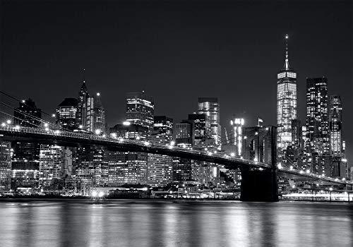 PICSonPAPER Poster New York schwarz Weiss, Manhattan Brooklyn Bridge, 100 cm breit x 70 cm hoch, Dekoration, Kunstdruck, Wandbild, Fineartprint, USA, Stadt, NY-City, Nacht, Premium Qualität
