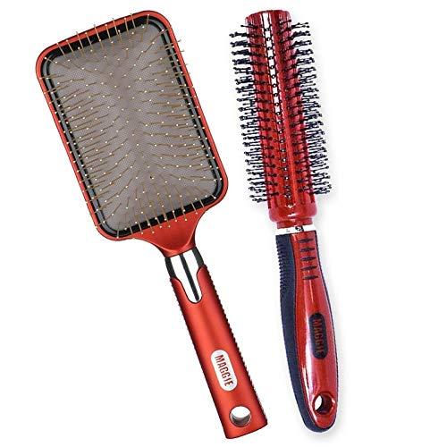 BLTMIT Aiguille de cuivre anti-statique peigne de massage airbag peigne coussin d'air santé peigne Shunfa coiffure grande planche peigne-Rouge coussin d'air peigne + cheveux bouclés peigne