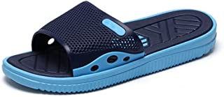 TONGDAUAE Slides for Men Beach Indoor Slippers Slip on Rubber Antislip Soft Outsole Breathable Perforated Summer Pool (Color : Blue, Size : 45 EU)