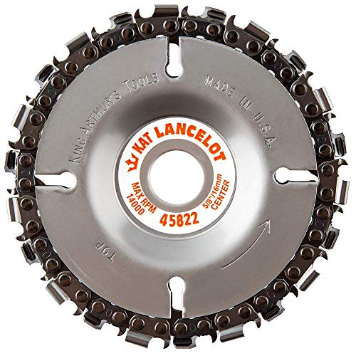 """King Arthur's Tools Original & Patented Lancelot 22 Tooth Carving Disc - 4"""" (100mm) Dia. X 5/8"""" (16mm) Bore - Fits 4 and 4 1/2"""" Woodworking Angle Grinder - Attachment for Milwaukee, Fein 45822"""