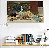 John William Godward 《Dolce Far Niente》 Reproducción de pintura al óleo clásica Impresión de arte en lienzo(60X90Cm) -24x36 Pulgadas Sin marco