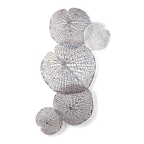 Design WANDDEKORATION Leaves Big | Metall, antik-Silber, 97 cm | Deko Wandbild