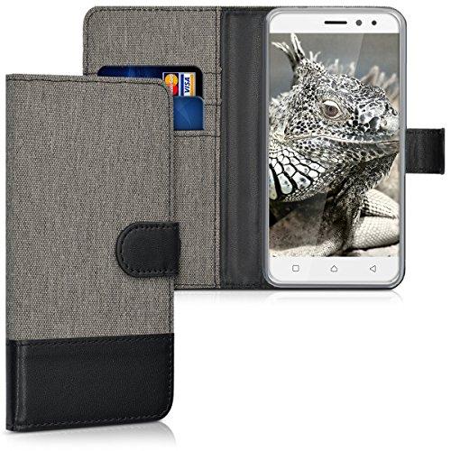 kwmobile Lenovo K6 Power Hülle - Kunstleder Wallet Case für Lenovo K6 Power mit Kartenfächern & Stand - Grau Schwarz