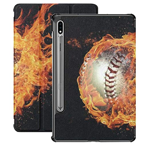Galaxy Tablet S7 Plus 12.4 Inch Case 2020 With S Pen Holder, 3d Illustration Ball Wrapped Flames Slim Stand Protective Folio Case For Samsung
