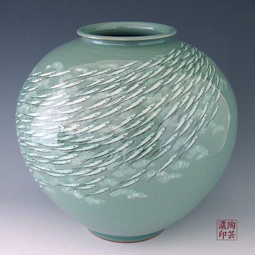 Céladon Coréen Vernis Blanc incrustés Motif Poisson Porcelaine Vert Incrustation en céramique poterie de cuisine Home Decor Globe rond décoratif en pot