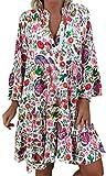 NTNY3 Abito da Spiaggia Vestito Donna A Fiori Plus Size Oversize Vestiti Ragazza Estivi Manica Corta Casual Abiti Donne Taglie Forti Vestitini (Multicolore, 5XL)