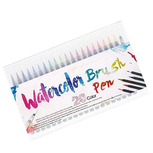 ENET 20x kleurrijke pennen aquarel tekening schilderij kunstenaar schets manga markeerpennen +1 waterborstel