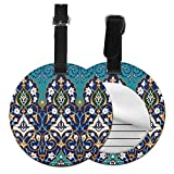 Round Travel Luggage Tags,Ottoman Folkloric Art Inspired Abstract Aged Middle Age Renaissance Artful Print,Leather Baggage Tag