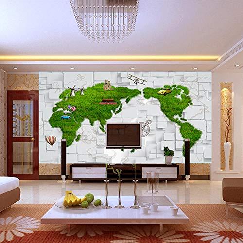 Mincoco Europe Kaart Prairie 5D Space Wallpaper Bump Marmer bakstenen muur naadloze grote muurschildering voor huishouden decor kantoor muurverbetering 300 x 210 cm.
