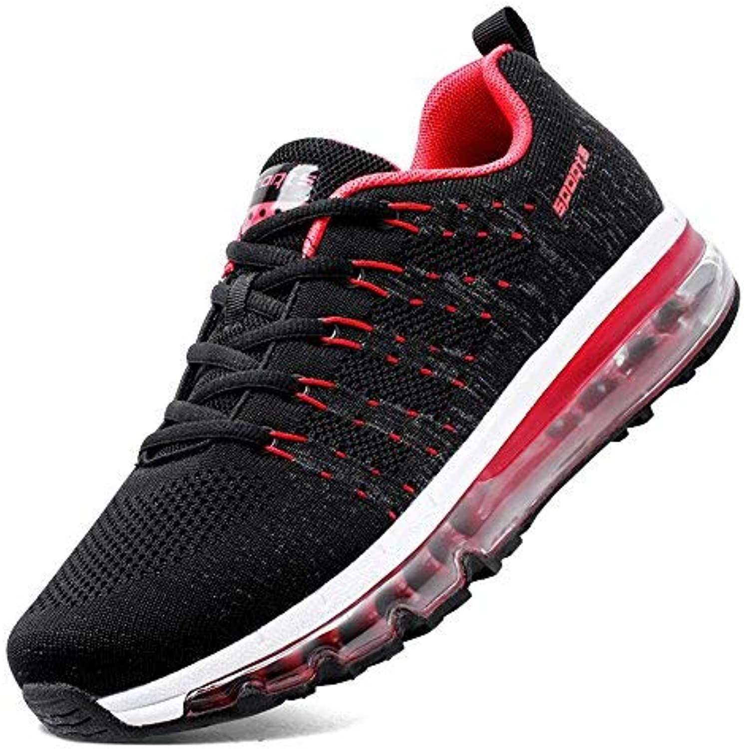 SKDOIUL Youth Boys Sneakers Size 6.5 for 2019 Summer Flyknit Breathable Comfort air Cushion Tennis shoes for Men Gym Workout Jogging Black red Sneakers (8067 red 39)