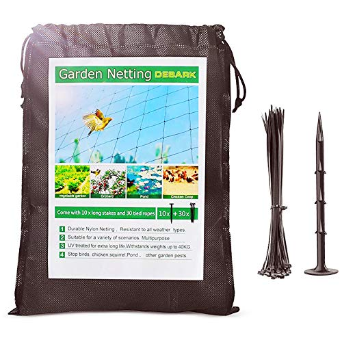 Bird Netting - 25' x 50' Garden Net, Plant and Vegetables from Poultry, Deer and Pests, Heavy Duty Bird Pond Netting for Garden, Farm, Orchard with 30 Zip Ties