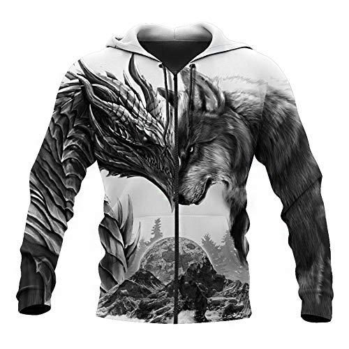 BBYaki Viking Drachen und Fenrir Wolf Tattoo Männer Kapuzenpullover 3D Printed Nordic Mythology lose Beiläufige Sweatshirt Fall Fashion Pullover in Über Paar Jacke, Hoodie Zip,3XL
