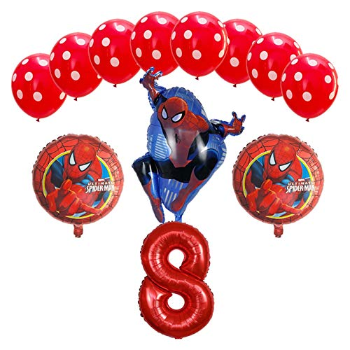 JSJJAES Balloons 12pcs/lot Foil Balloon Baby Shower Decor Birthday Party Decoration boys Kids Toys Gift Air Globos (Color : Red 8)