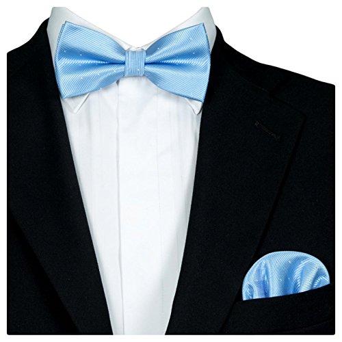 GASSANI GASSANI 2Tlg Fliegenset, Festliche Hell-Blaue Herren-Fliege Silber Gepunktet, Hochzeitsfliege Anzug-Schleife Vor-Gebunden Ein-Stecktuch Vorgefaltet