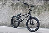 20インチBMXバイク、高強度クロムモリブデン鋼BMXフレーム、Uブレーキ付き3セクション8キークランク、鍛造アルミニウム合金トップカバー,黒