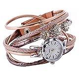 VECOLE Uhr Damen Luxury Fashion Diamonds Persönlichkeit Wickelarmbanduhr Quarz Analoganzeige Uhr Magnetschnalle Netzuhr Präzises Uhrwerk 12-Stunden-Zifferblatt(Rose Gold)