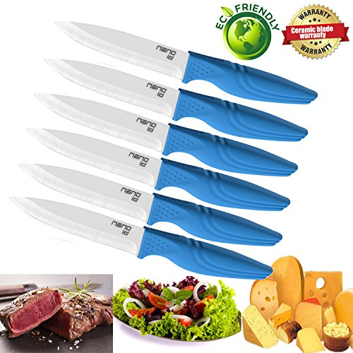 Steak Knives set of 6, Nano ID Ceramic Stake Knife Sharp Ceramic Knife Perfect Festival Present (blue)