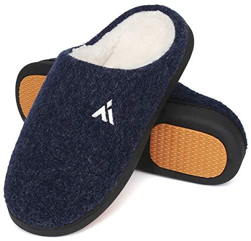 Mishansha Zapatillas de Casa Hombre Cálido Invierno Pantuflas Suave Antideslizante Espuma de Memoria Slippers Azul Oscuro, Gr.43 EU