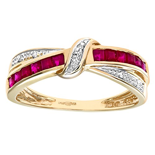 Naava Women's 9 ct Yellow Gold Ruby and Diamond Bow Ring, Size J