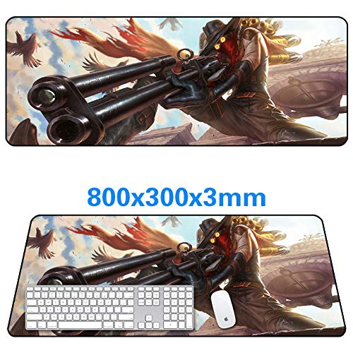 Groß Gaming Mauspad Strapazierfähige, genähte Kanten mit rutschfeste Gummibasis zum Computertisch und Laptop (80×30×0.3cm) JHIN