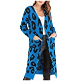 Knitted Sweater Leopard Print Cardigan Women Fashion Long Sleeve T-Shirt Coat